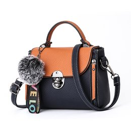 $enCountryForm.capitalKeyWord NZ - Mini Handbag Women Messenger Bag PU Leather Female Cover Shoulder Crossbody Bag for Teenager Girls Travel Evening Totes+Hairball