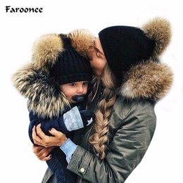 $enCountryForm.capitalKeyWord Australia - Naiveroo 2018 New Arrival Mom&Baby Cap Double Fur Ball Cap Pom Winter Warm Hat Women Girl Boys Knitted Beanies Crochet Hat