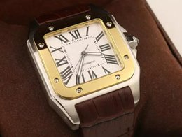 Xl watches men online shopping - 2019 New Brand Men two tone XL Watch Automatic Mechanical Watch Brown Leather Gold Case Men s Sports leather clasp WristWatches
