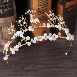 $enCountryForm.capitalKeyWord NZ - new bride headdress golden welding deer animal hair crown wedding accessories New style