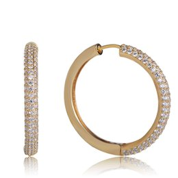 Copper Earrings Australia - Fashion Sparkling Cubic Zirconia Hoop Earrings For Women Girls Punk Gold Color Copper Round Earring Club Banquet Jewelry Brincos