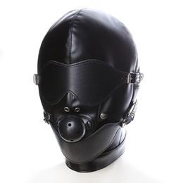 $enCountryForm.capitalKeyWord UK - Black Sex Mask Fetish BDSM Leather Mouth Eye Slave Hood Ball Gag Sex Product Toy Bondage Erotic Costume For Couple Men Women S19706