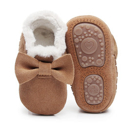 $enCountryForm.capitalKeyWord Australia - New style Winter with fur boots Genuine Leather Baby girls shoes handmade Toddler hard sole first walkers baby Suede Shoes