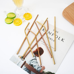 Wholesale Rose Gold Straight Bent mm Drinking Straw Stainless Steel Bar Straws Reusable High Quality NNA498