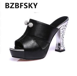 a11f7f8516a218 Sexy high heel slippers Summer slippers women slides sandals 2018 peep toe  thick high heel crystal Plus