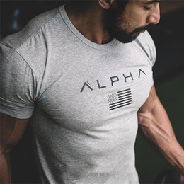 Wholesale bodybuilding t shirts for sale – custom New Short Sleeves GYM T Shirt Fitness Bodybuilding Shirts Crossfit Male Brand Tee Tops Exercise Wear Fitness Clothes