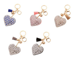 $enCountryForm.capitalKeyWord Canada - Heart Shaped Crystal Rhinestone Keychains - Romantic Handbag Keyfob Charm Pendant Car Key Keyring For Women Gift