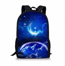 6dc840550394 Discount wolf backpacks - Galaxy Moon Wolf Printed Boys School Bags Casual  Book Shoulder Bags for