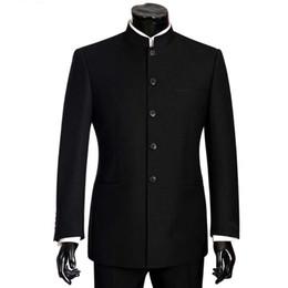 5cf5c7325 2018 Brand Men Suits Big size Chinese Mandarin Collar Male Suit Slim Fit  Blazer Wedding Terno Tuxedo 2 Pieces Jacket & Pant