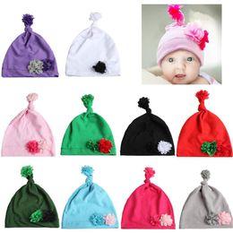 Newborn Flower Hats Australia - Baby Unisex Christmas hat Newborn chiffon flower bow-tie hats Kids Solid Color Spring Autumn caps 10colors