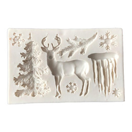 christmas tree silicone mould 2019 - Useful Christmas Tree Elk Snowflake Silicone Cake Mold Chocolate Jelly Baking Mould Sugar Craft Tools Fondant Cake Decor
