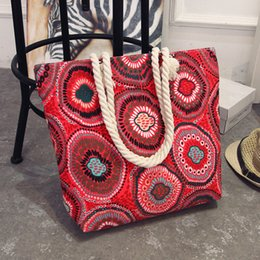 large canvas floral tote bags NZ - Bohemian Style Floral Canvas Casual Tote Ladies Hand Bag Shopping Big Shoulder Bags For Women 2018 bolsa feminina sac a main D18102906
