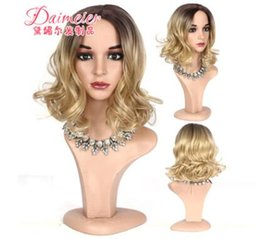 European Wigs Sale NZ - Fashion, European and American heads, coloring, gradual change, short curl, chemical fiber wig sets, factory direct sales