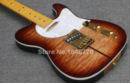 China Quilted Maple Top Merle Haggard Tuff Dog Tele TL Tobacco Sunburst Electric Guitar Strings Thru Body Bridge, White Pearl Pickguard & Tuners suppliers