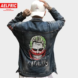 hipsters jeans 2019 - AELFRIC Joker Jackets Casual Jeans Men Vintage 3d Print Graffiti Hipster Outwear Baseball Jacket Streetwear Male Denim C