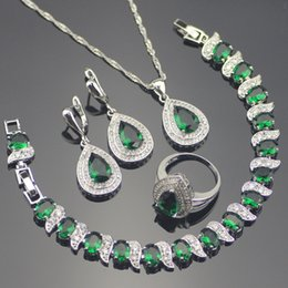 Chinese  whole saleGreen Zircon Costume 925 Silver Jewelry Sets Wedding Women Earrings With Stones Bracelets Necklace Rings Set Jewellery Gift Box manufacturers