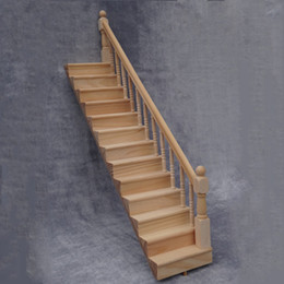 $enCountryForm.capitalKeyWord NZ - Pre-Assembled Wooden Staircase Stair Stringer Step with Right Handrail Dollhouse Furniture