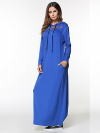 $enCountryForm.capitalKeyWord NZ - Embroidery long sleeve hooded Maxi long Dress Autumn 2018 women casual basic Ankle-Length dresses muslim middle east clothing Blue