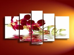 $enCountryForm.capitalKeyWord Australia - handmade flower canvas painting 5 panel modern wood wall art oil pictures living room decorative painting unique gifts Kungfu Art