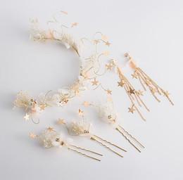 Rhinestones Jewelry Sets UK - Bridal headwear, Sen Xian hairpin Hoop Earring Set Wedding Dress jewelry