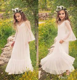 b3203b42260 First Communion Dress for Girls 2018 Boho-chic Lace Flower Girls Dress  Bohemian Style Long Sleeves Floor Length Custom Made