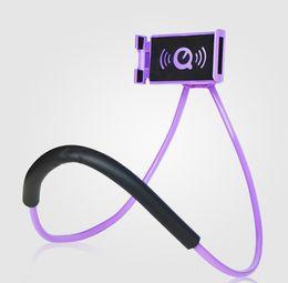 Универсальный ленивый держатель шеи кронштейн для телефона Творческий держатель для мобильного телефона Вращение на 360 градусов Гибкая поддержка телефона для всех телефонов 8 цветов