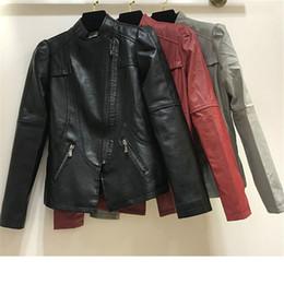 8bee79626858c PU Leather Jacket Women Winter Autumn Winter Harajuku Motorcycle Biker  Jacket Black Gray Faux Leather Short Coats Outerwear
