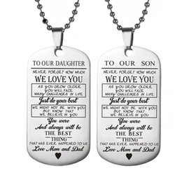 mum pendants 2019 - TO OUR SON Stainless Steel Pendant Necklaces Engrave Name Love Dad Mum ID Tag Necklaces Customized Logo Jewelry cheap mu