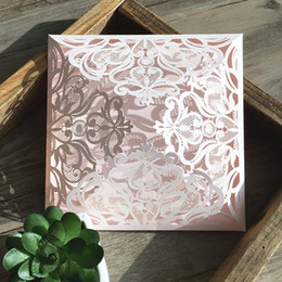 Wedding invitations papers online shopping - Wedding Blank Print Invitation Card Flower Pink Lace Birthday Party Paper Supplies Greeting Cards Love Fluttered Into Hearts fm jj