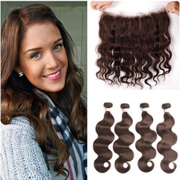 Chocolate Human Hair Inches Australia - Brazilian Dark Brown Human Hair 4Bundles with Full Lace Frontal Closure 13x4 Body Wave #4 Chocolate Brown Virgin Hair Weaves with Frontal
