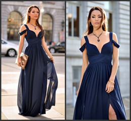 Charming Chiffon Crinkle Dark Navy Wedding Party Dress Straps Cheap V Neck Bridesmaid  Dress With Swag Sleeves And Cold Shoulder 68c5302e26d0