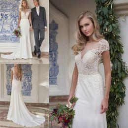 wedding dress net tulle 2019 - Custom Made Wedding Dresses Backless Boho Gowns Bohemian Bridal Sexy Net Berta Jewel Portrait Sheath Dress Vestidos De N