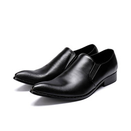 China Simple Design Men Black Dress Shoes Pointed Toe Slip On Business Leisure Leather Shoes Man Office Career Shoes Size 39-46 Hombre Zapatos cheap loafer shoes design suppliers