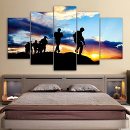 $enCountryForm.capitalKeyWord NZ - Poster Wall Art Frame Canvas Painting Modern HD Printed 5 Pieces Soldier Sunset Silhouette For Living Room Pictures Decoration