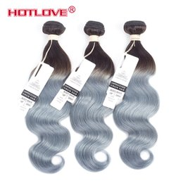 Brazilian Human Hair Ombre Grey NZ - HOTLOVE Body Wave Ombre Two Tone 1B Grey Mixed Length 3Pcs 4Pcs Lot Brazilian Body Remy Ombre Human Hair Extensions Gray Wavy