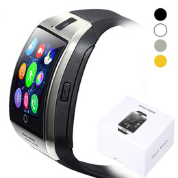 ingrosso vigilanza intelligente del bluetooth sim-Supporto intelligente orologio con telecamera Q18 Bluetooth Smartwatch SIM TF fitness Attività Tracker Sport Watch per Android