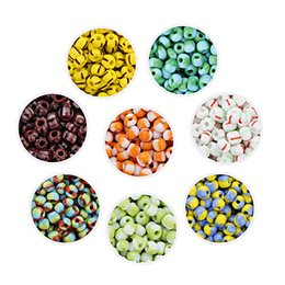 double circle glasses NZ - 40gram lot(350pcs) Glass Beads For DIY Home Made Bracelet Charm Loose Beads With 8 Colors Jewelry Accessories Glaze Double Colored Colorful