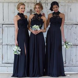 b18590f879 Stylish Dark Navy Chiffon Bridesmaid Dresses Halter Neckline Side Slit Lace  Sexy Country Maid Of Honor Dresses Beach Wedding