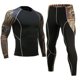 Chinese  Mens New Base Layer Sets Compression Shirt + Pants Skin-Tight Long Sleeves Fitness Rashguard MMA Bodybuilding Gyms Fitness Suits manufacturers