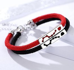Sterling Silver Red Rope Bracelet NZ - S925 sterling silver jewelry men and women couples jewelry Beidou Qixing heart red rope bracelet exquisite fashion accessories