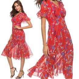 Wholesale Summer Dresses for Women with V Neck High Waist Flounce Sleeve Ruffle Trim Chiffon Red Floral Print Vacation Beach Holiday Clothes