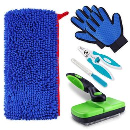 $enCountryForm.capitalKeyWord NZ - Pet Grooming Brush Comb Furmins Dog Self Cleaning Slicker Brush Microfiber Towel Pet Nail Clippers Trimmer Grooming Glove for Dog Cat NB
