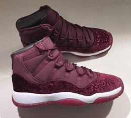 Discount maroon flowers - High Quality 11 11s Velvet Heiress Flowers Pattern Men Women Basketball Shoes 11 Velvet Wine Red Night Maroon Sports Sne