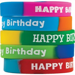 O professor feito sob encomenda dos braceletes dos punhos do silicone criou recursos Wristbands extravagantes do feliz aniversario multi presentes da promoção do partido da cor