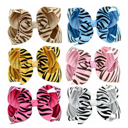Zebra hairs online shopping - Baby girls barrette Stripe hairclips Kids Ribbon zebra pattern hair clasp hair ornament Grosgrain Bow Children Ribbon Accessory Hairpins