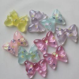 $enCountryForm.capitalKeyWord NZ - 10PCS Clear Bow Resin Cabochons Glitter Confetti Kawaii Cabochon Flatback Phone Case Hair Ring DIY Decoden