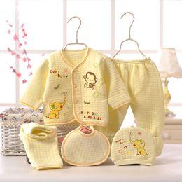 Cheap Winter Suits Australia - Cheap Newborn Clothing 5pcs set Baby Girl Autumn Winter Infant Clothing Set Kids Suit Baby Outfits Tracksuit