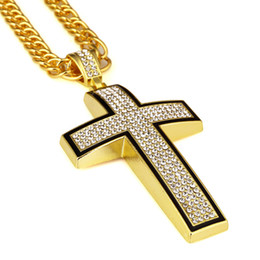 $enCountryForm.capitalKeyWord NZ - Big Cross Pendant Necklace 18k Gold Full Imitated Zirconia Simulation Thick Cross Link Chain Necklace Men Hip Hop