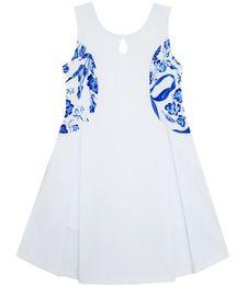 $enCountryForm.capitalKeyWord UK - Sunny Fashion Flower Girl Dress Blue White Porcelain Floral Printed Sleeveless Sundress Cotton 2017 Summer Princess Size 4-10