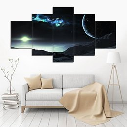 Art Canvas Prints Australia - Canvas Wall Art Pictures Home Decoration 5 Pieces Outer Space Planet Paintings HD Prints Earth Asteroids Posters Modular Framework